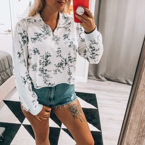 Wild Fable Floral Cropped Quarter Zip L
